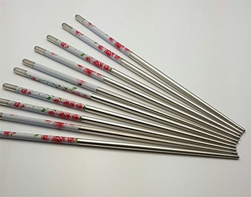 10 Pcs (5 Pairs) High Quality Rose Design Silver Stainless Steel Chopsticks