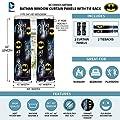 "Warner Bros Batman Kids Room Window Curtain Panels with Tie Backs, 82"" x 63"", Black"