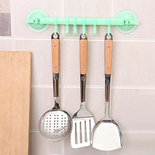 Agordo Newest 6 Hooks Holder Vacuum Sucker Towel Utensil Rack Bathroom Kitchen Hanger