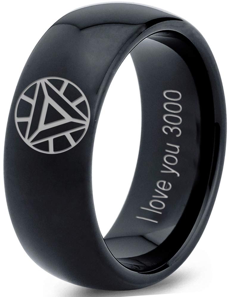 Zealot Jewelry Tungsten Quote I Love You 3000 Engraved Band Ring 8mm Men Women Comfort Fit Black Dome Polished Size 10
