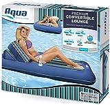 "Aqua Premium Convertible Pool Lounger, Inflatable Pool Float, Heavy Duty, X-Large, 74"" - 90"", Navy/Green/White Stripe"