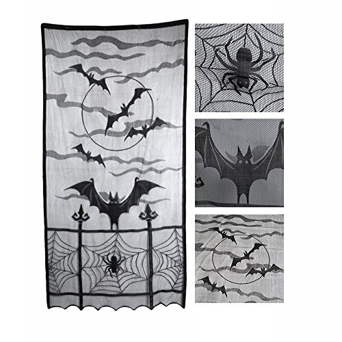 Halloween Decoration Black Lace Spiderweb and Bat Window Curtains Spooky Lace Curtain Panel Fireplace Mantle Scarf For Living Room