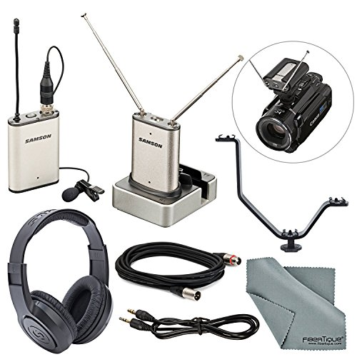 (Samson Airline Micro Wireless Camera System Bundle with Samson Stereo Headphones + V Bracket + XLR & Aux Cable + Fibertique Cleaning Cloth)