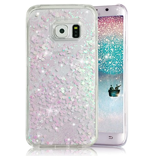 Galaxy S6 Edge Plus Case, Crazy Panda® Samsung Galaxy S6 Edge Plus 3D Creative Design Flowing Liquid Floating Bling Glitter Sparkle Star Love Crystal Clear Case Cover for S6 Edge Plus - White Love