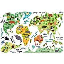 Animal World Map Wall Sticker (H 60cm- W 90cm),LoveQmall Peel & Stick Wall Decals Stickers Waterproof Removable for Children's Room & Nursery Kids Studyroom