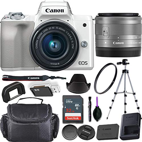 Canon EOS M50 Mirrorless Digital Camera (White) + EF-M 15-45mm f/3.5-6.3 is STM Lens Bundled with Premium Accessories (32GB Memory Card, Padded Equipment Case and More.)
