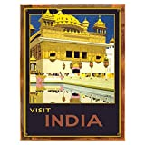 Wood-Framed India Metal Sign: Travel Decor Wall Accent, Vintage Advertising for kitchen on reclaimed, rustic wood
