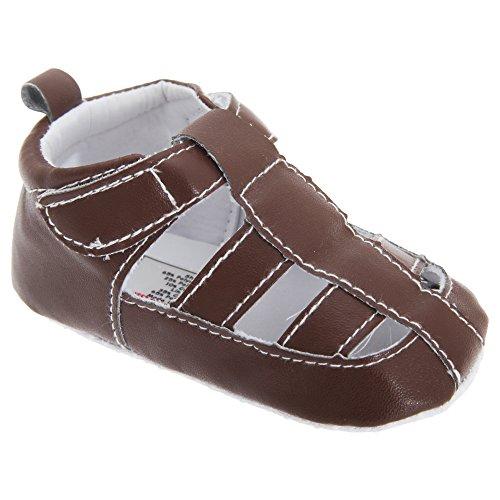 Patucos / Sandalias para bebes niños de piel de imitación con correa de velcro Marrón