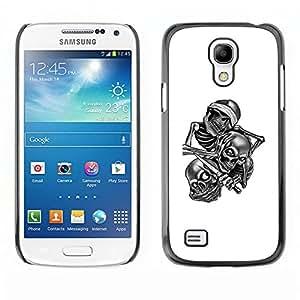 KLONGSHOP // Cubierta de piel con cierre a presión Shell trasero duro de goma Protección Caso - Cráneo cuadrilla B & W - Samsung Galaxy S4 Mini i9190 //