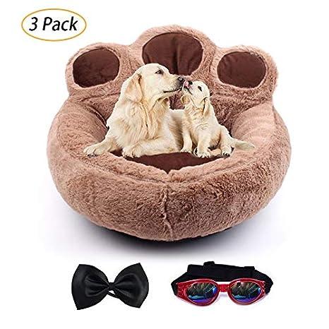LA VIE Cama Sofá Redondo para Mascotas Forma de Garra Cesta Linda de Perros con Cojín Extraíble Casa Cama Nido Cómoda para Gatos y Perros L en Marrón