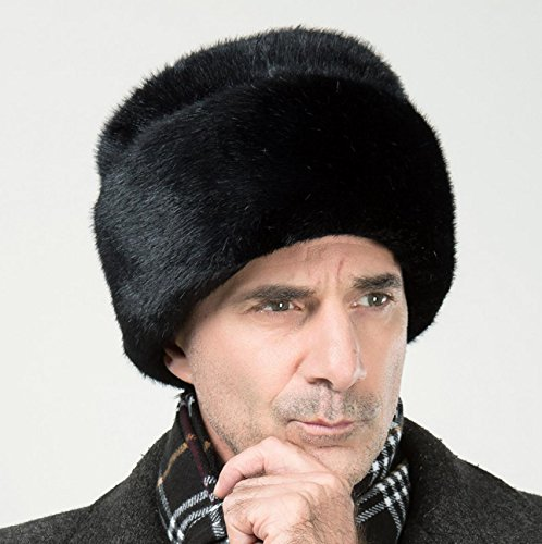 - Onlineb2c Men's Faux Mink Fur Hat Russian Cossack Winter Warm Hat Ski Cap (S(54-56cm), Black)