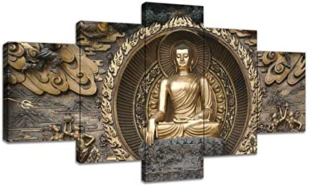 AMEMNY 5 Panels Gautama Buddha Main Canvas Wall Art Religion Picture Canvas Prints Zen Buddha Painting Peaceful Zen Artwork