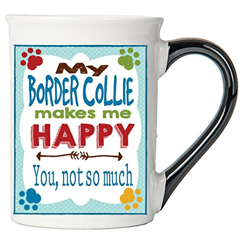Cottage Creek Dog Mug Large18 Ounce Ceramic My Border Collie Makes Me Happy Coffee Mug/Dog Gifts Collie Gifts [White]