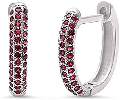 Simulated Ruby Huggie Hoop .925 Sterling Silver Earrings