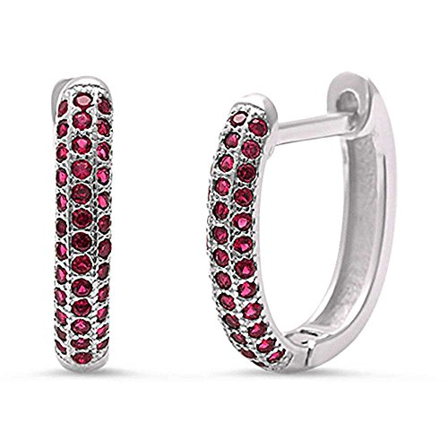 Simulated Ruby Huggie Hoop .925 Sterling Silver Earrings