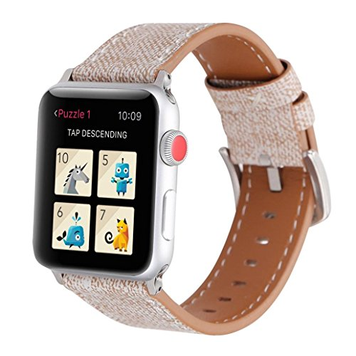 Cowboy Pattern Leather Strap Replacement Watch Band For Apple Watch 42mm (Khaki) by Sonmer