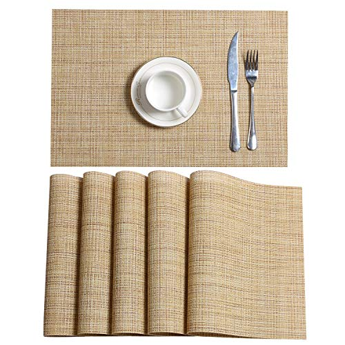 SHACOS Placemats PVC Woven Vinyl Place Mats for Dining Table Set of 6 Heat Resistant Kitchen Table Mats (6, Beige Yellow)