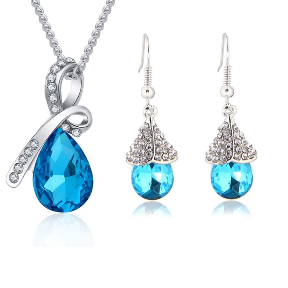 YMKMM Conjunto De Joyas De Cristal Colgante De Gota De Agua Collar Pendiente DeBotónPulsera Plateada Joyas Mujer043232 Azul Marino