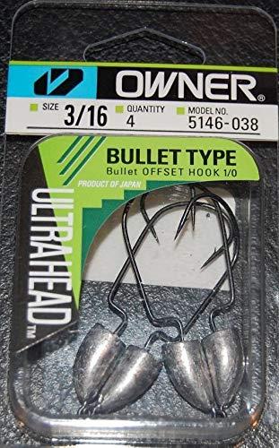 (Owner Ultra Heads Bullet Type 5146-038 Size 1/0 Hooks 3/16 oz Weight Bass Jigs)