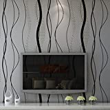 "GOMNEAR Wallpaper Roll Modern Luxury Black Grey Wave Non-woven Embossed Mural Home Decor Designer Wall Paper 0.53m (20.8"")*10m (32.8')"