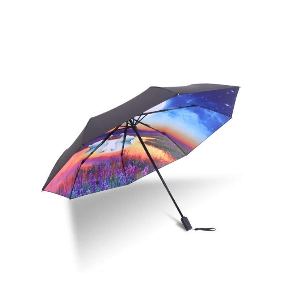 A-Nice Ombrellone Pieghevole con Apertura Automatica   Protezione Solare Anti-UV Ombrello Automatico Sunny & Rainy Amphibious   Ombrello da Viaggio Compatto per Donna e Uomo (colore   Colour B)