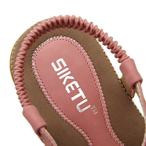 Slingback T Flat PADGENE Sandals Coin Bohemian Beads Beach Release Strap Women's Shoes Summer Thong Pink New 1AwSTqx
