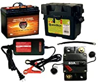 """Boat Battery Kit: VMAX 12V 35ah AGM Battery + Quickbox Marine Battery Box + Waterproof Circuit Breaker + VMAX 12V 4-Stage Smart Charger + (2) 9"""" 100% Copper Battery Cables. AGM 35ah Battery Kit Ideal for Boats 18-35 pound thrust motors, Minnkota, Cobra, S"""