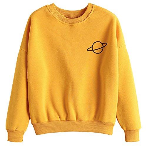 ZAFUL Women's Long Sleeve Crew Neck Drop Shoulder Planet Print Sweatshirt (Ginger)