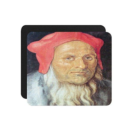 Portrait Of Bearded Man Red Cap (Durer) Computer Laptop Mouse - Bearded Style Men