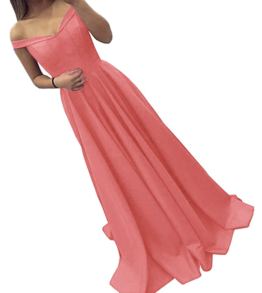 Coral Dressylady Off The Shoulder A Line Long Prom Homecoming Dress Evening Gowns