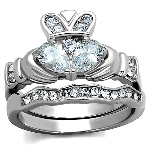 Women's Stainless Steel Irish Claddagh AAA CZ Wedding Ring Band Set Size 7