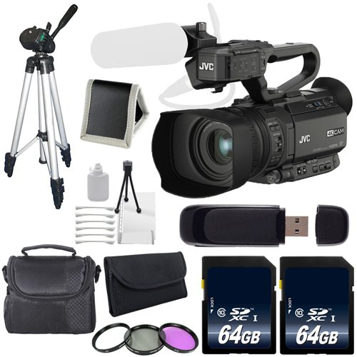 JVC GY-HM200 GYHM200 4KCAM Compact Handheld Camcorder (International Model) + 64GB SDXC Class 10 Memory Card + Full Size Tripod + Carrying Case + Kit 6AVE Bundle by JVC