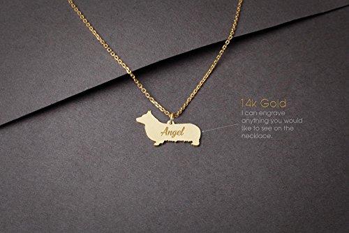 (14K GOLD Personalised PEMBROKE WELSH CORGI Necklace - Pembroke Welsh Corgi Name Jewelry - Gold Necklace- Dog Jewelry - Dog breed Necklace - Dog Necklaces)