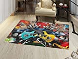 smallbeefly Music Door Mats Area Rug Collage of Music Color and Musical Instruments Street Wall Art Joyful Nostalgia Print Floor mat Bath Mat for tub Multicolor