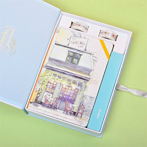 Easyflower Convenient Practical School Stationary Writing Set Idea for Girls Boxed Children's Notebook & Stationery Gift Set(Coffee Shop) -
