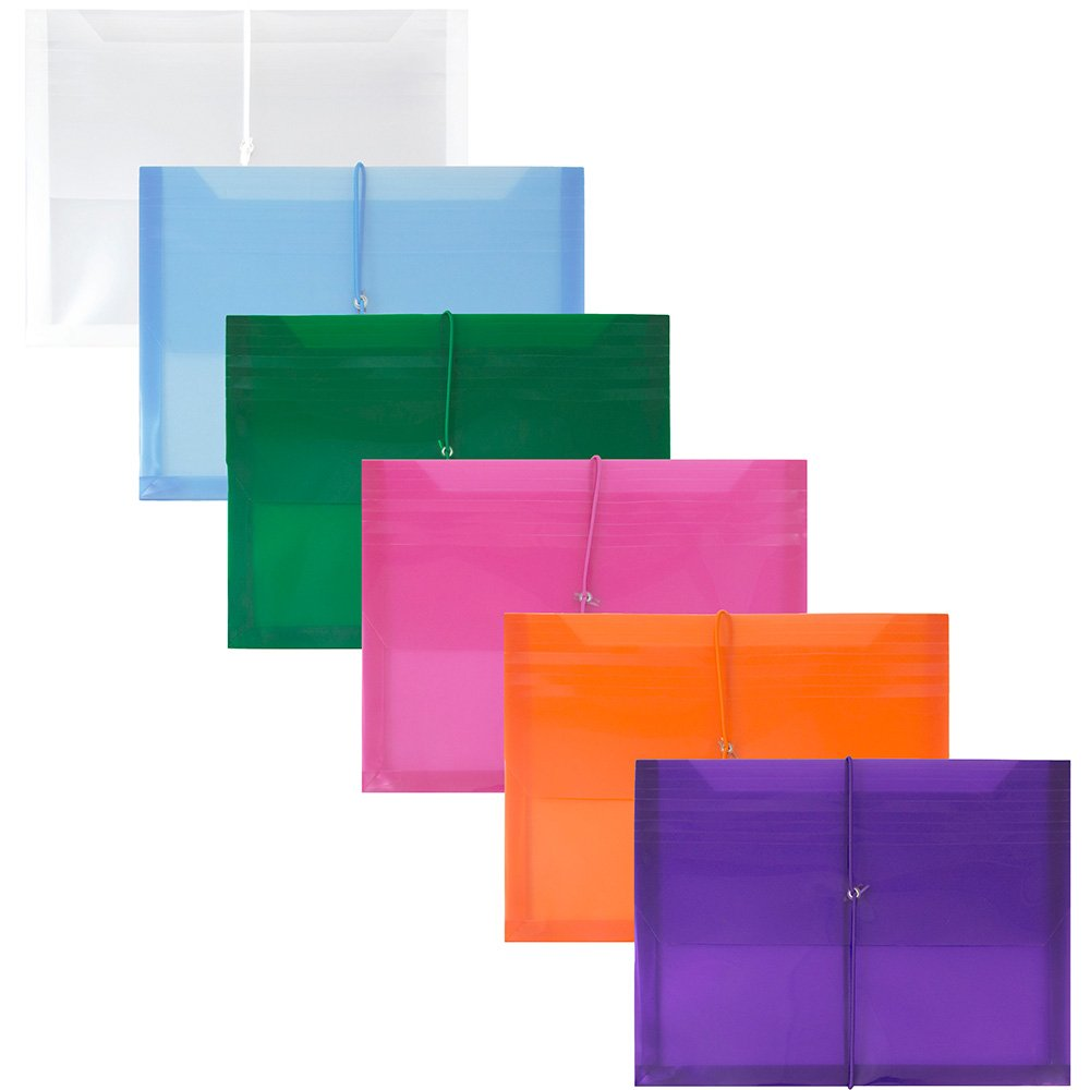 JAM PAPER Plastic Expansion Envelopes with Elastic Band Closure - Letter Booklet - 9 3/4 x 13 with 2.5 Inch Expansion - Assorted Colors - 6/Pack