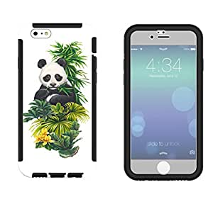 957 - Cool cute fun panda nature wildlife green plants flowers kawaii Design iphone 6 plus S 5.5'' Full Body CASE With Build in Screen Protector Rubber Defender Shockproof Heavy Duty Builders Protective Cover