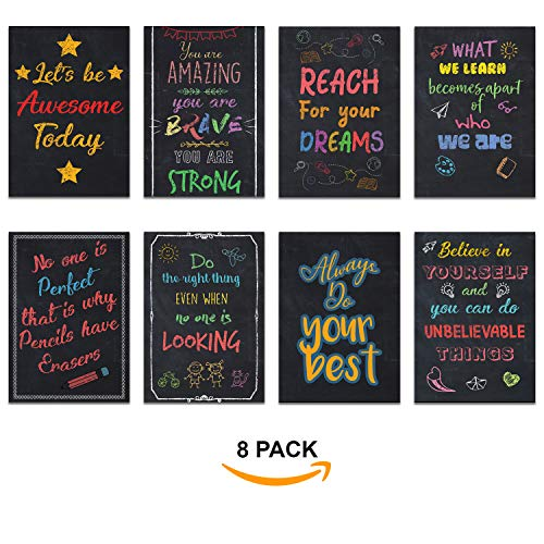 Motivational Posters Pack of 8 Inspirational Quotes for Classroom & Office Matte Lamination Chalk Board Style