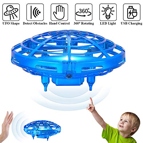 TEMI Mini UFO Flying Toys Drone for Kids & Adults, Hand Operated Flying Ball Helicopter with Lights, Easy Indoor Outdoor Pocket Quadcopter Aircraft Toy Gifts for Beginners, Boys & Girls, Blue
