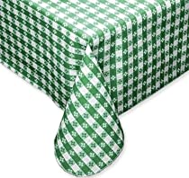 Tavern Check Classic Restaurant Quality Flannel Back Vinyl Tablecloth, 60X84 Oval, Green & White