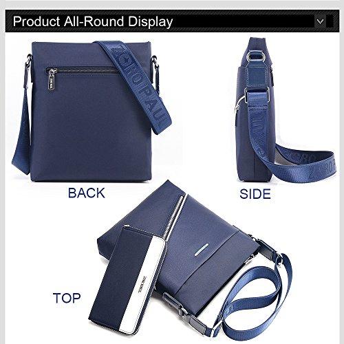 Rainbow vertical delgado Crossbody bolsa de hombro bolsa Oxford textil impermeable con billetera Azul