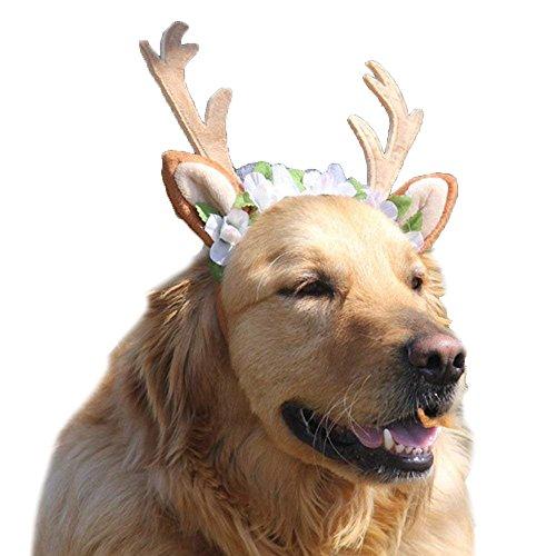 Anytec-Pet Pet Costumes, Christmas Antlers Hat Cap Elk Headband Headwear Halloween Holiday Cosplay Accessories for Dogs Cats (L) - Medium Cap Hoop