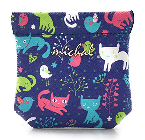 Printed Faux Leather Squeeze Coin Purse, Key Pocket, Coin Pouch Change Holder For Men/Woman Size 3.5 X 3.5 (Kittys)