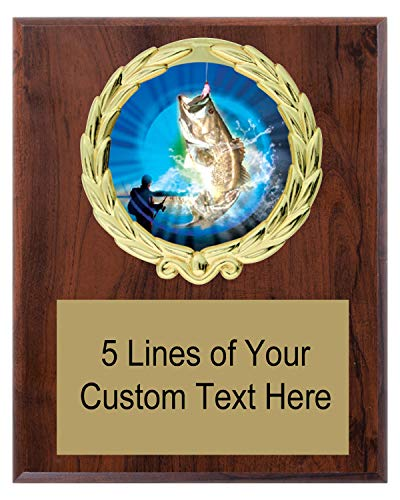 Express Medals 5x7 Cherry Color Bass Fishing Plaque Award Trophy with Engraved Plate MY4