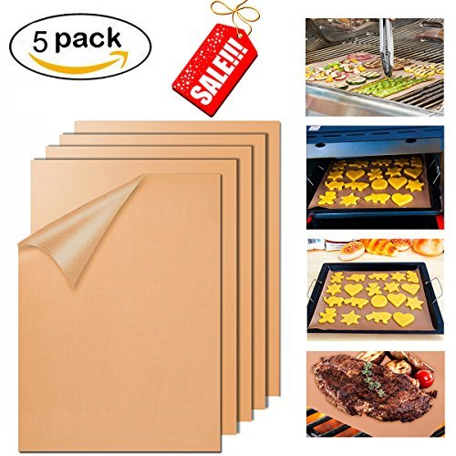BBQ Grill Mat Set of 5 Reusable Easy to Clean 100% Nonstick BBQ Grill Baking Cooking Mats Protect Your Precious Grill for Outdoor Barbecue Cooking Grill Mats 15.75 x 13 inch Gold by Totoose