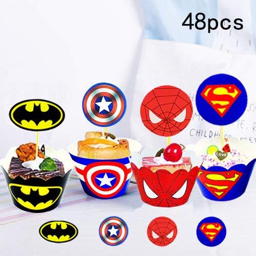 Envoltorio para tartas de superhéroe (48 unidades ...