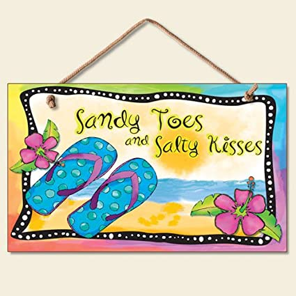 Amazon.com: New Flip Flops Wall Plaque Beach Sign Tropical Decor ...