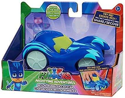 Pj Masks Exclusive Night Time Adventures Glow in the Dark Rev-N-Rumbler Cat