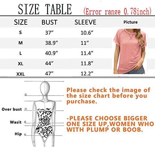 NOVMAY Women's Casual T-Shirts Crewneck Short Sleeve Summer Top Tee Tunics Blouse Loose Color Block Stripe Solid
