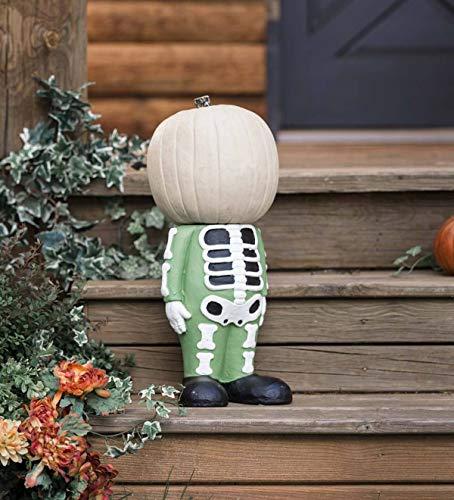 Halloween Pumpkin Stand - Transpac Inc. Headless Pumpkin Holder Display Stand - Halloween Home Decor Statue - 11.75 W x 8.5 D x 12.25 H - Skeleton Figure
